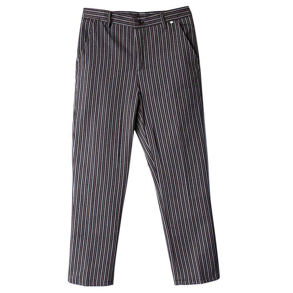 Magideal Chef Work Pants Restaurant Kitchen Uniform Cook Trousers Elastic Waist 4xl Stripe By Magideal.