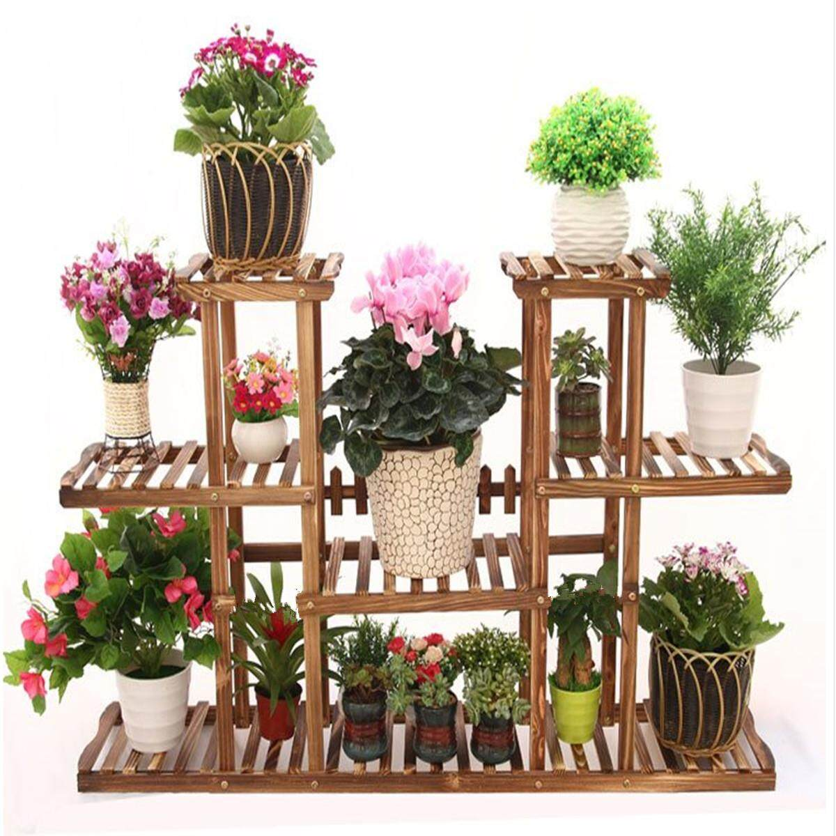 4 Tier Pot Wooden Bamboo Flower Plant Display Stand Wood Shelf Rack Home Outdoor