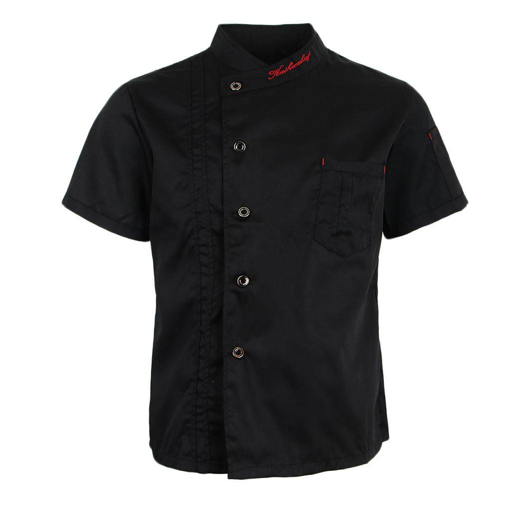 Magideal Unisex Chef Jackets Coat Short Sleeves Shirt Kitchen Uniforms Black 2xl By Magideal