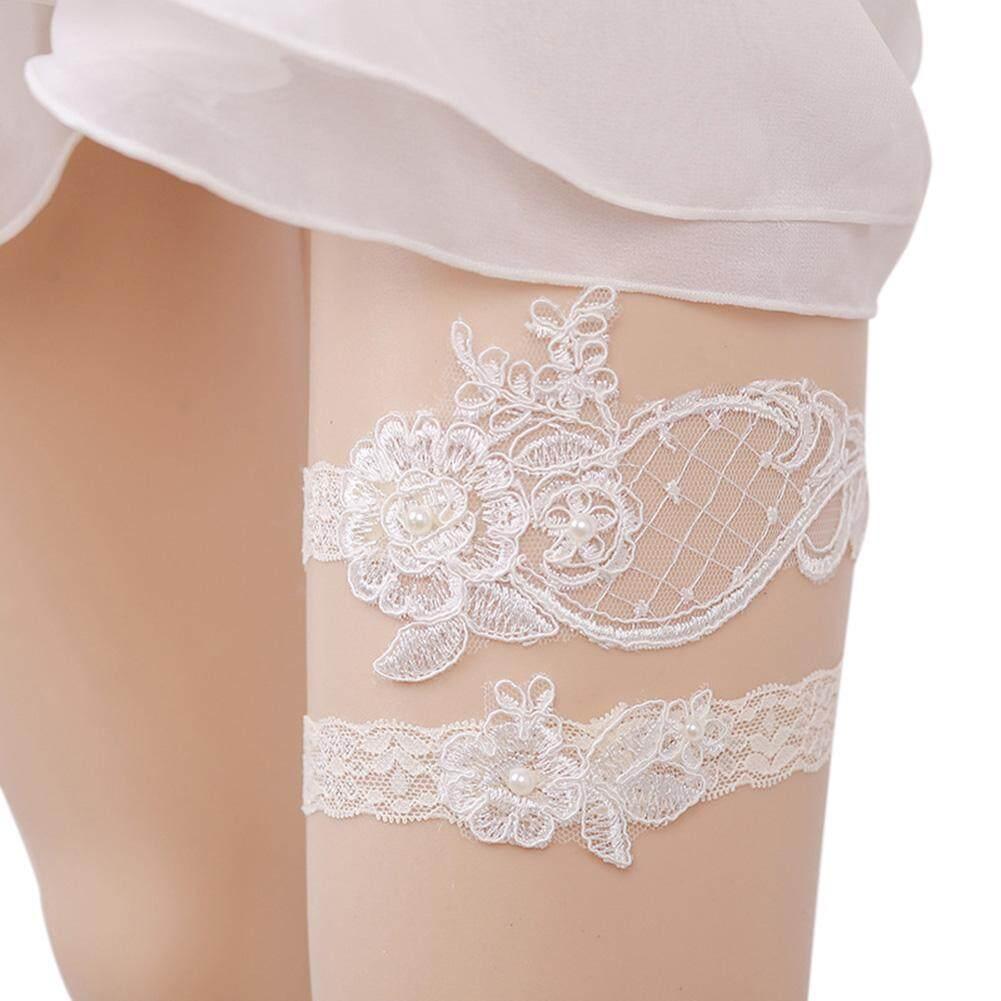 Hiqueen 1 Pair Women Wedding Garter Set Elegant Lace Flower Bridal Classic White Garter Photography Prop