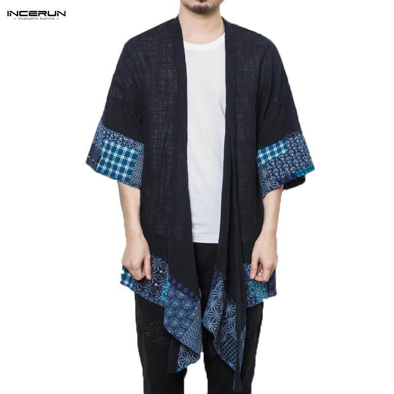 Incerun Cina Pria Kasual Modis Kemeja Floral Irregular Longgar Panjang Jubah Mantel