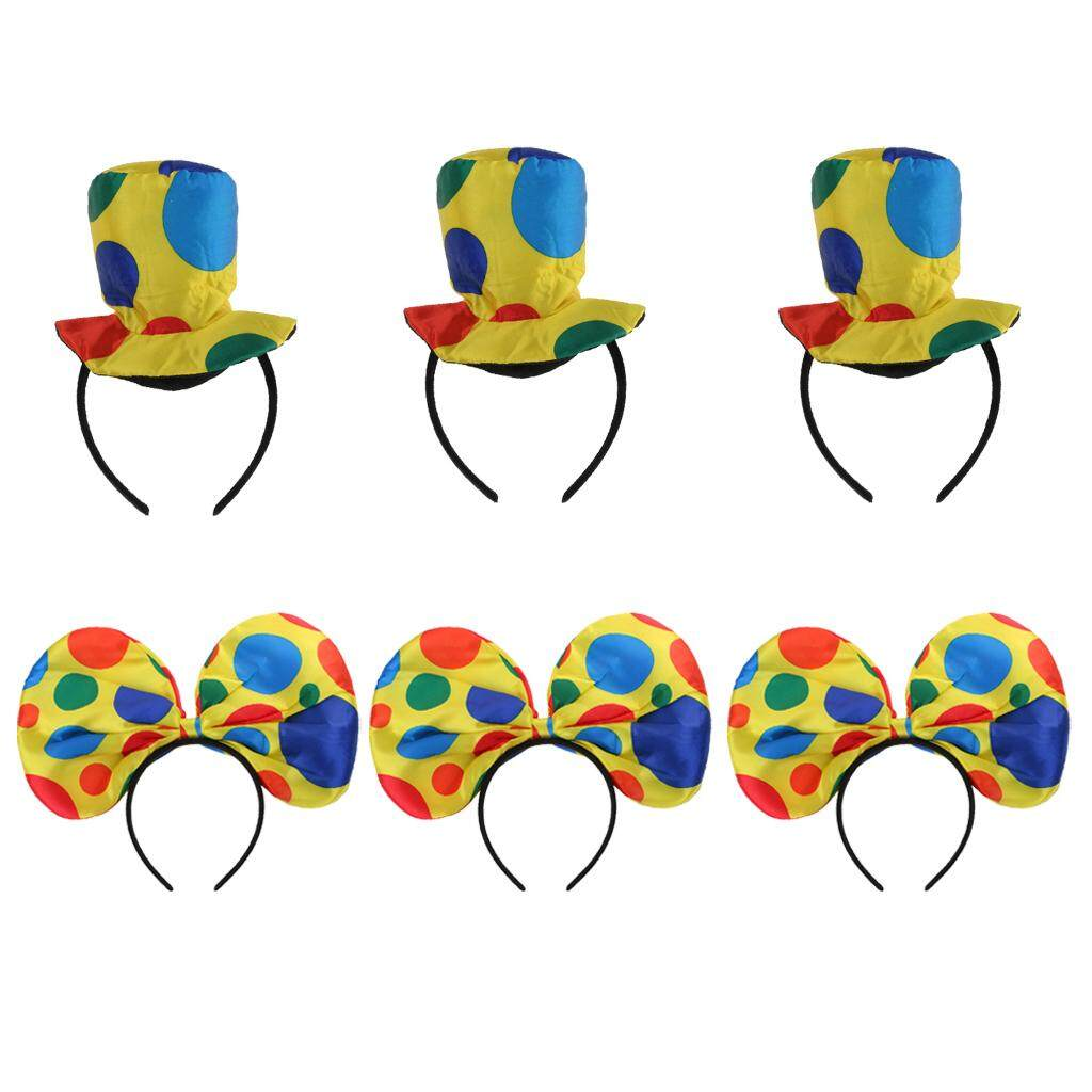 MagiDeal 6pcs Women Girls Polka Dots Clown Jester Bowknot Hat Clown Headbands Harlequin Hat Costume Party Props