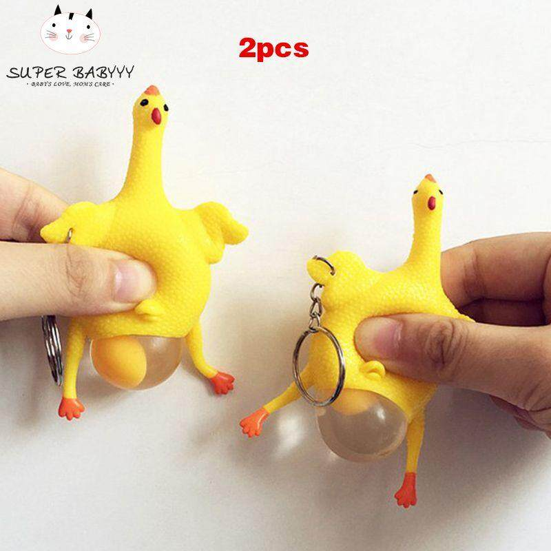 Hình ảnh SBY 2 Pcs Hens Chicken Laying Egg Keychains Sticky Venting Prank Squeeze Relief Tricky Keyrings