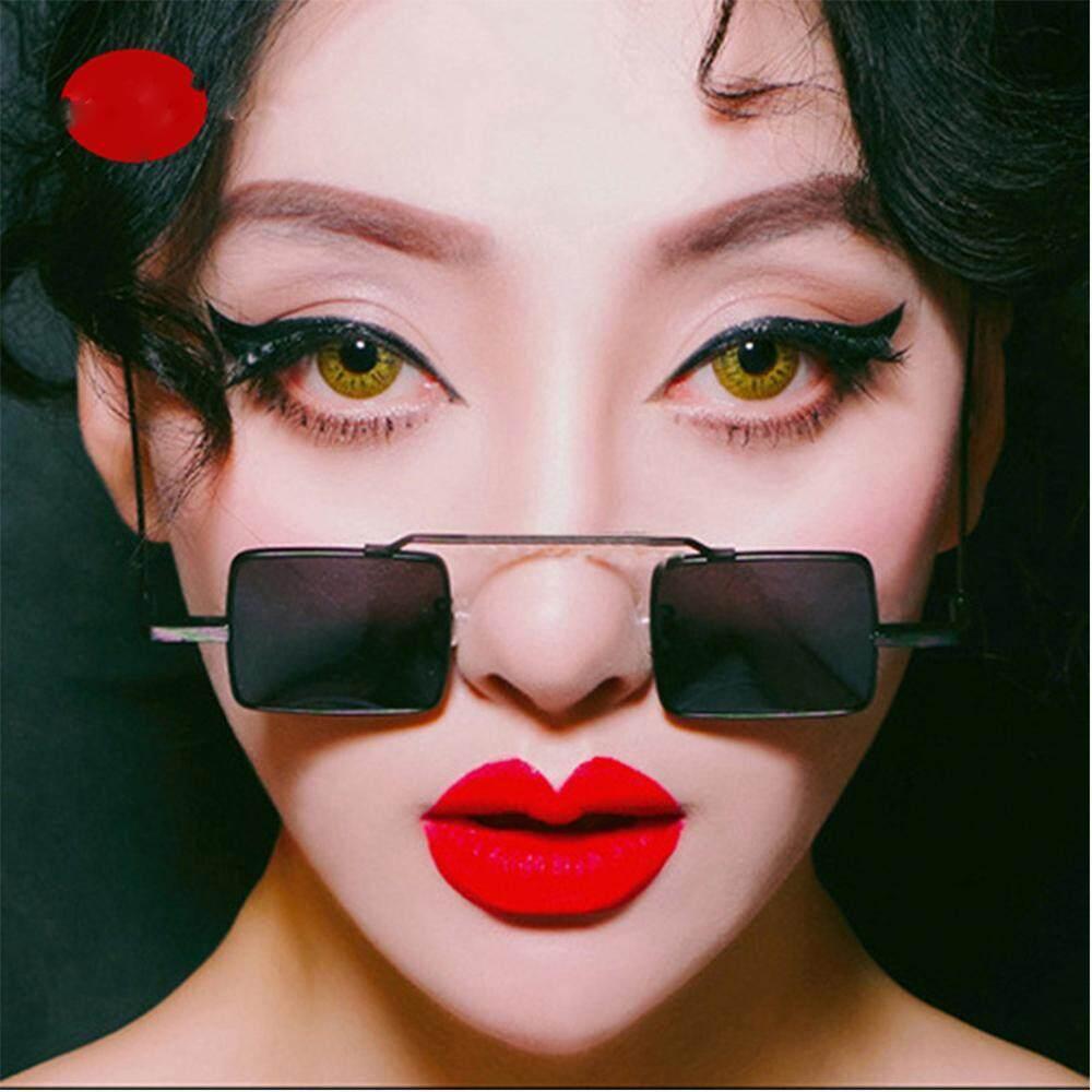 Leegoal Retro Steampunk Kacamata Hitam Wanita Persegi Matahari Kacamata Bingkai Kecil Wanita Antik Kacamata Wanita Kucing