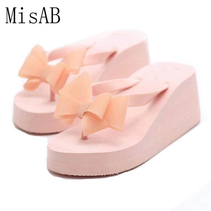 fee42aafd52bf Women Sandals Flowers Wedges Summer Sandals Sweet Bowtie Women Platform  Beach Flip Flops Women Shoes