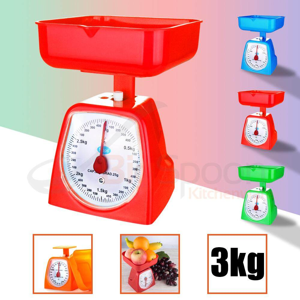 HOMSUIT 3kg Analog Weighing Kitchen Scale with Bowl Anti Spill Mechanical