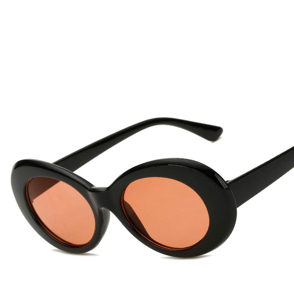 Qimiao Fashional Oval Bulat Retro Memperluas Bingkai Kacamata Hitam untuk Pria dan Wanita Warna Lensa:
