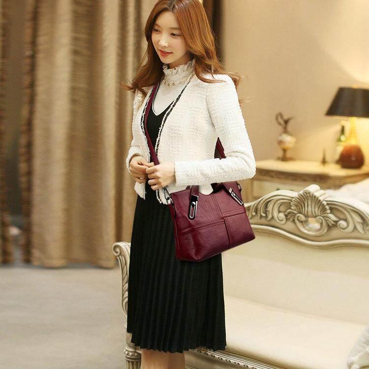 2019 Tas perempuan Gaya Barat tas trendi pasang tas bahu tunggal Kulit lembut casual tas wanita minimalis Kapasitas Besar tas selempang - 3