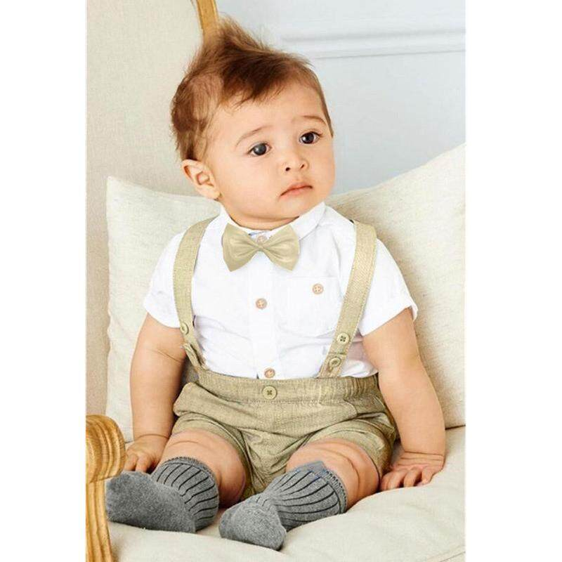 Hình ảnh Baby Boy Sets Formal Toddler Clothes Tie Shirt + Overalls Boys Clothing Set Summer Party Costume - intl