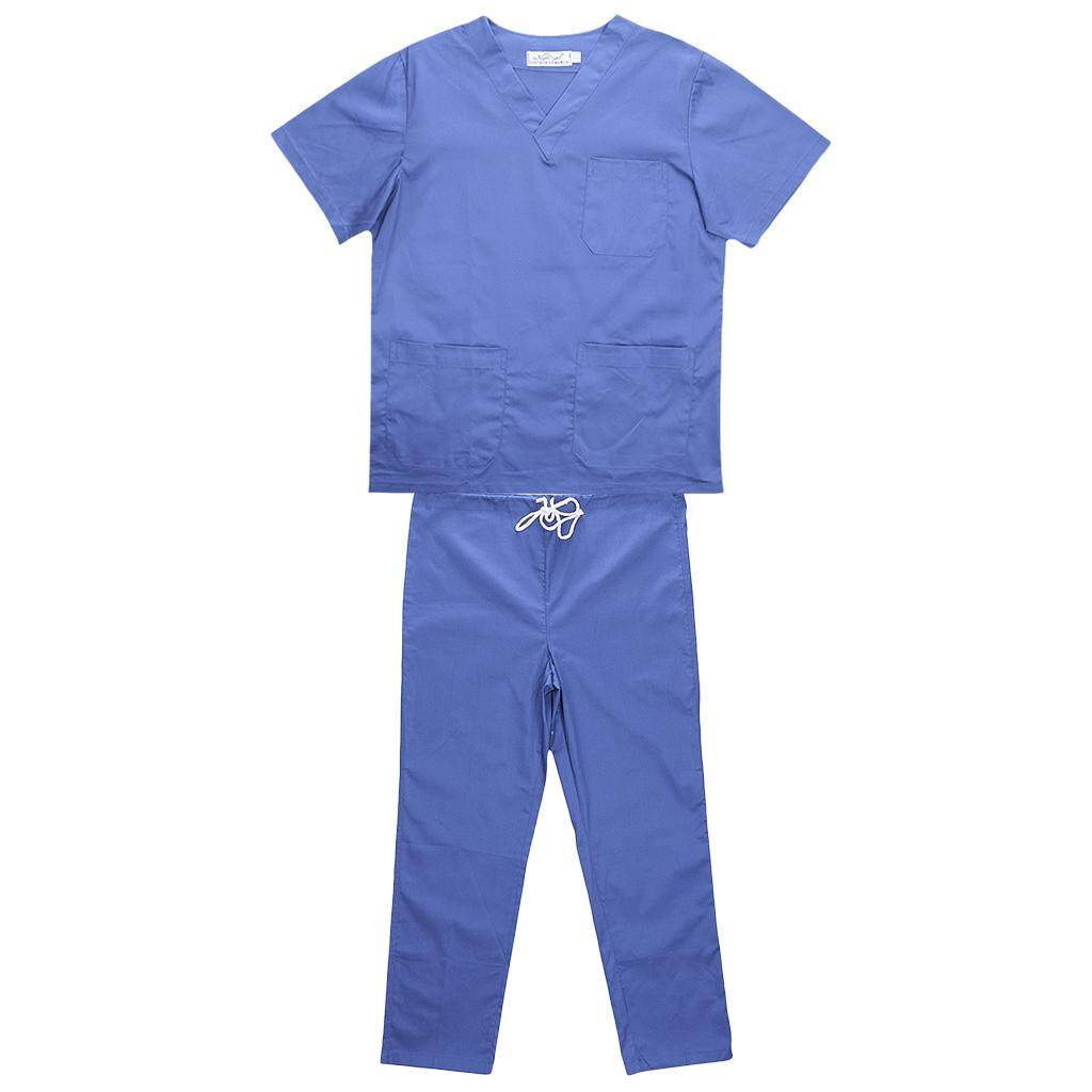 MagiDeal Men Women Medical Spa Nursing Clinic Scrub Sets Hospital Uniform L Blue