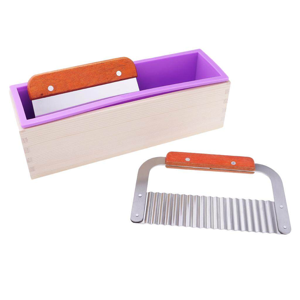 Mua BolehDeals Rectangle Silicone Soap Mold with Wood Box + Straight Cutter + Wavy Cutter Soap Maker Loaf Potato Cutting Tools
