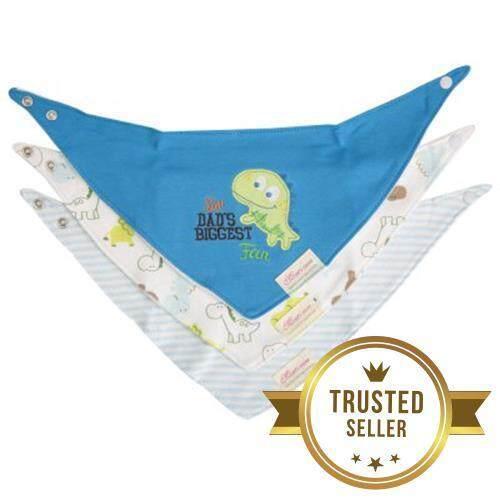 3 Pcs Cotton Triangular Print Bibs Set for Babies (Blue + Dinosaur)