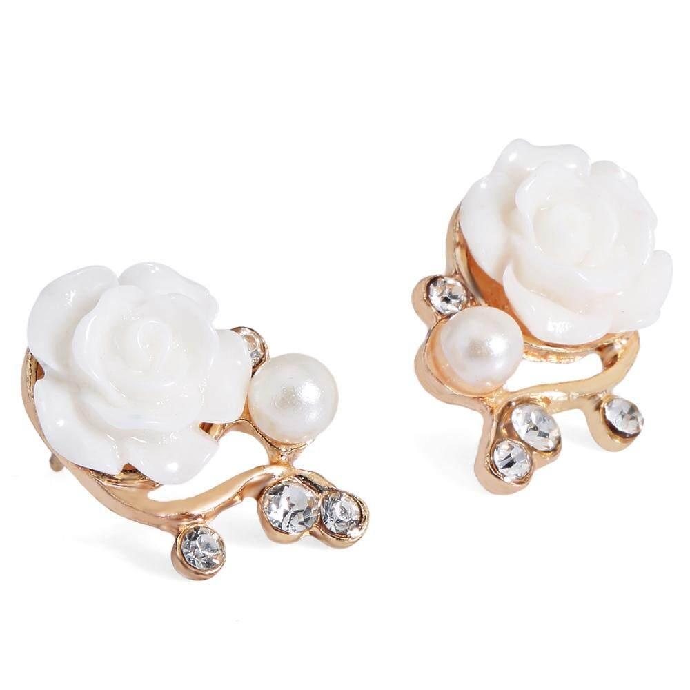 Bergaya Elegan Berlian Mawar Anting-anting Mutiara Cabang Anting Telinga-Intl
