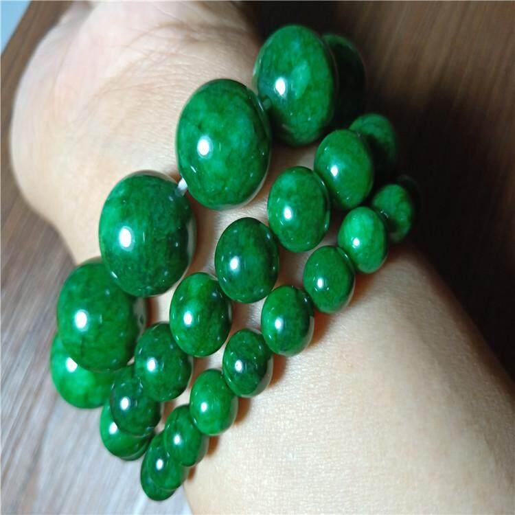 Dan Mode Untuk Wanita Hijau Giok Zamrud Batu Manik-Manik Gelang Perhiasan Alam Nyata 8-16 Mm Manik Gelang Elastis By Very-Fashion.