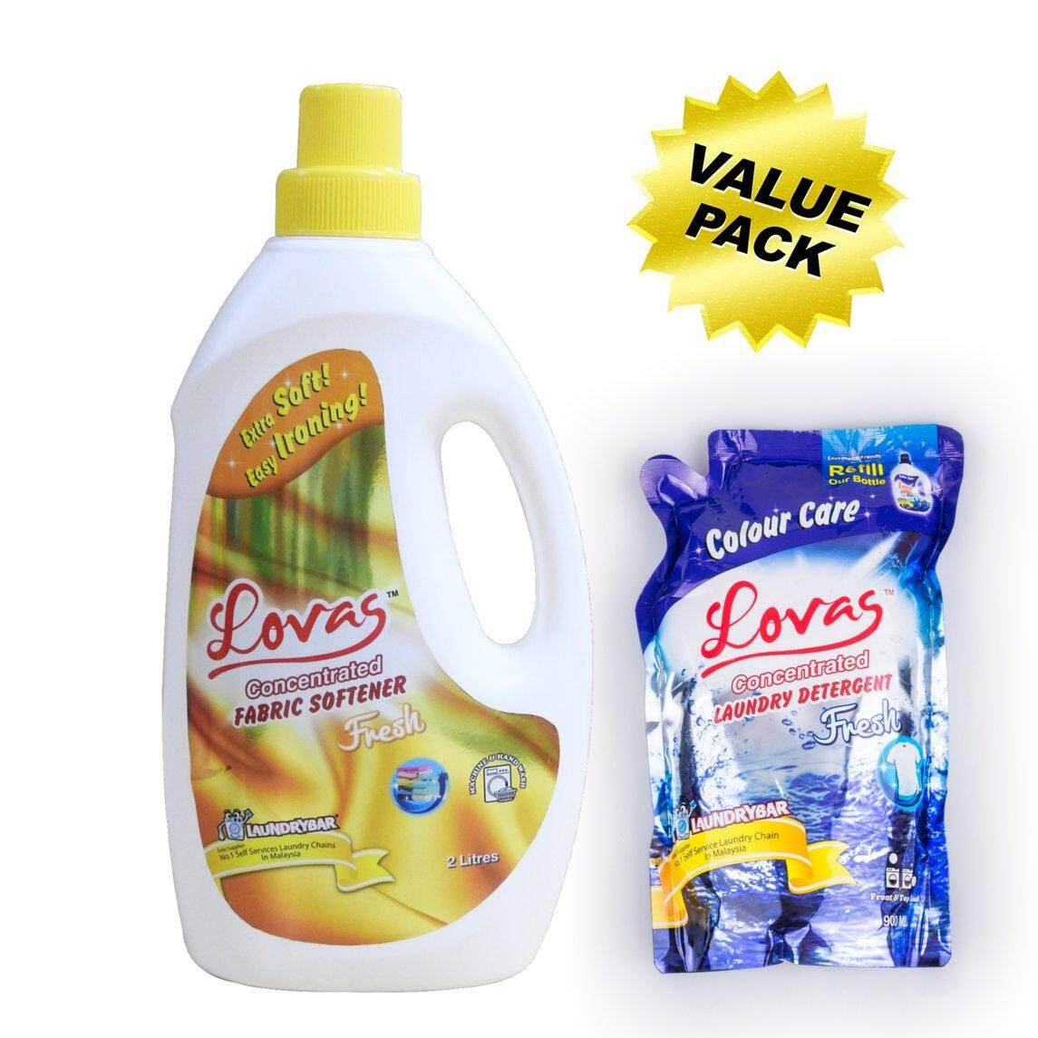 VALUE Pack - LOVAS Concentrated Fabric Softener - 2L [Fresh] + LOVAS Concentrated Laundry Detergent 900ml Refill Pack