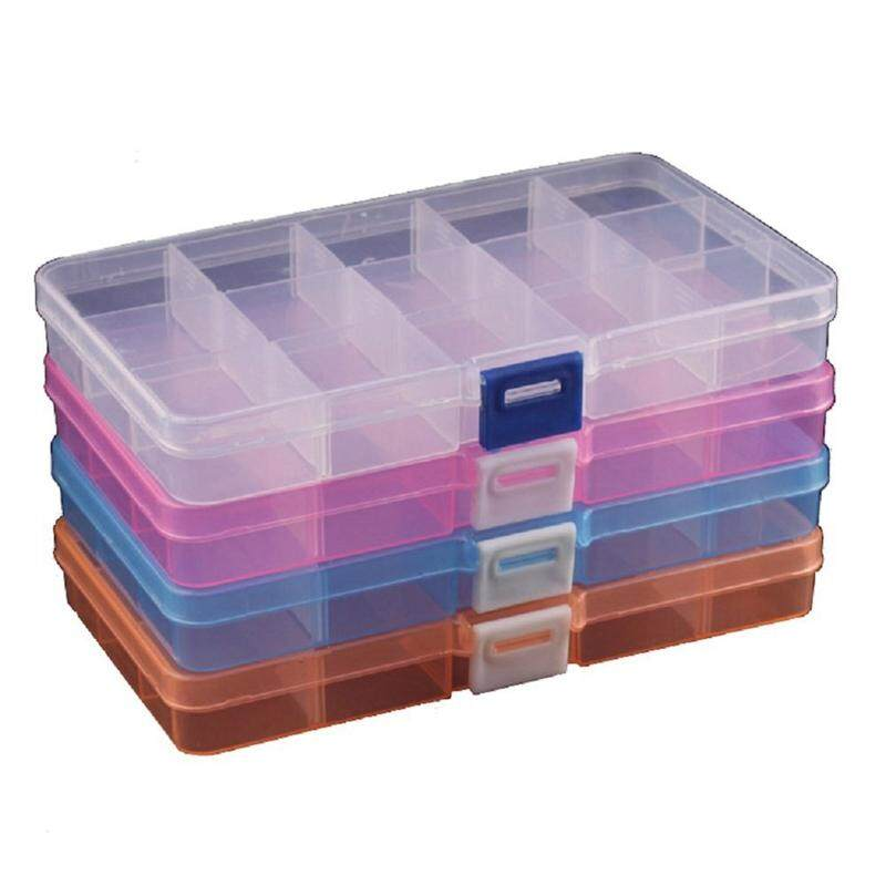 4 Packs (4 Colors) Plastic Storage Box (15 Compartments) Jewelry Earring Tool Containers
