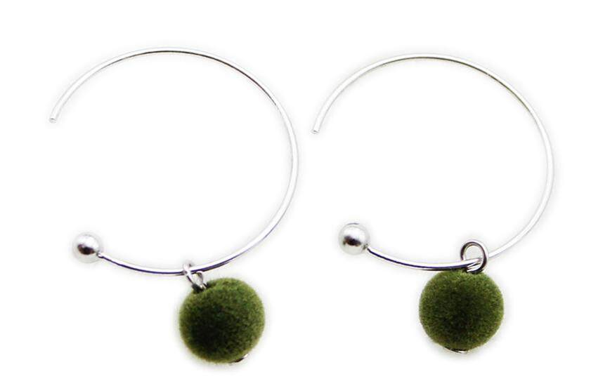 Vitality Spring And Summer Color Flannel 925 Silver White Gold Plated Flannel round Ball Ear Ring