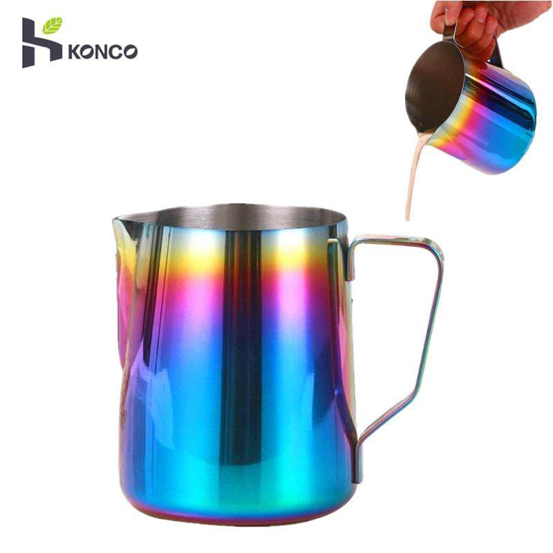 Konco Rainbow Milk Frothing Pitcher Stainless Steel, Rainbow Color Custom Coffee Mugs, Milk Steaming Frother For Espresso Machines-350ml By Konco