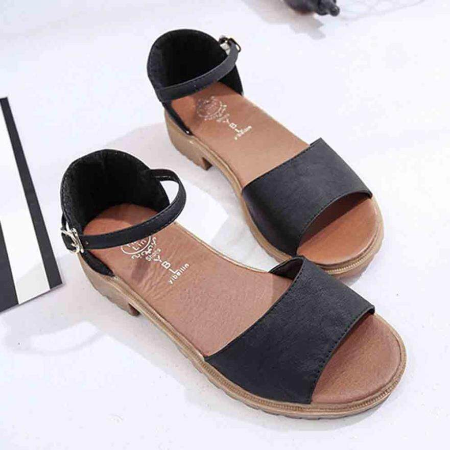 25b1889e5c3 Youyedian Summer Floral Sandals Fish Mouth Women Sandals Pu Suede Retro  High Heels Square Heel Woman