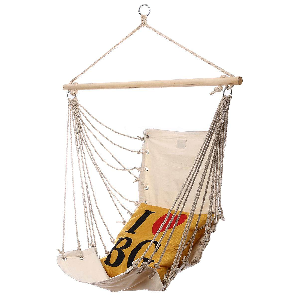 32x17 Hanging Hammock Chair Swing Outdoor Indoor Camping Garden White Canvas - intl