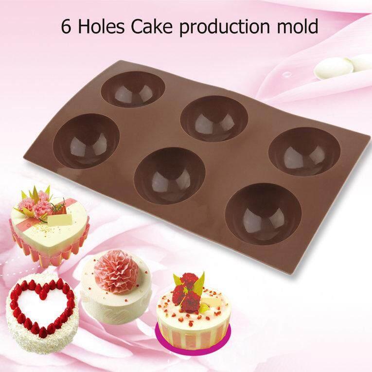 6 Holes Silicone Muffin Half Round Semi Circle Mold Pancakes Cake Pudding