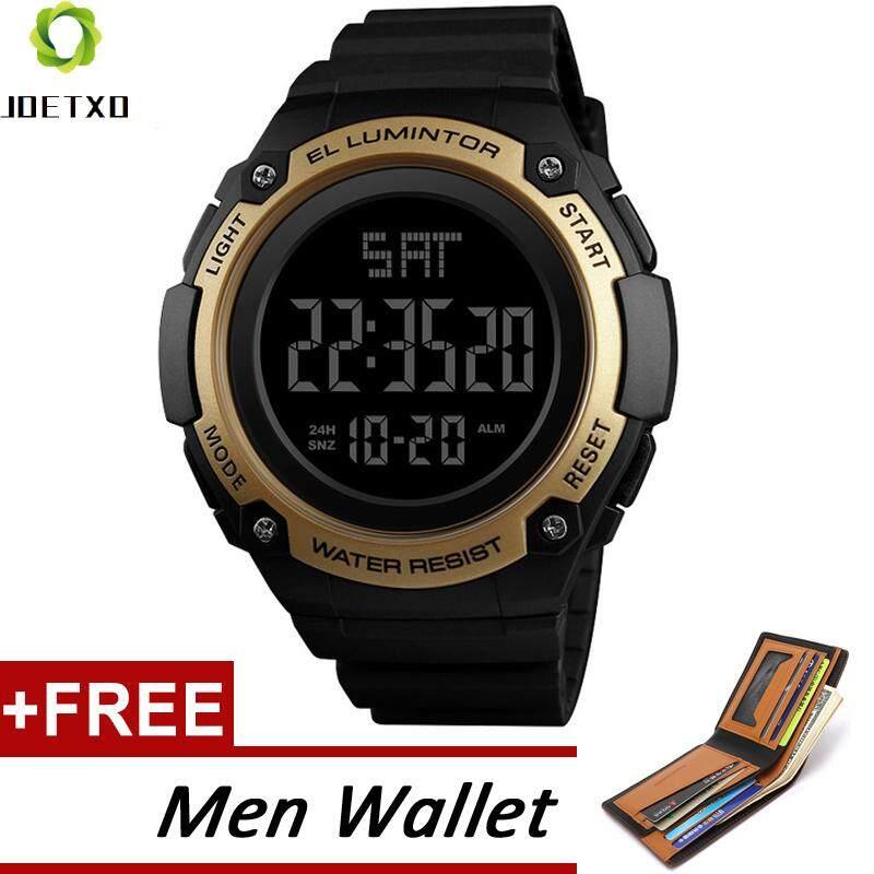SKMEI 1346 Pria Jam Tangan Olahaga Outdoor Tahan Air LED Elektronik Jam Digital Tanggal Jam Besar