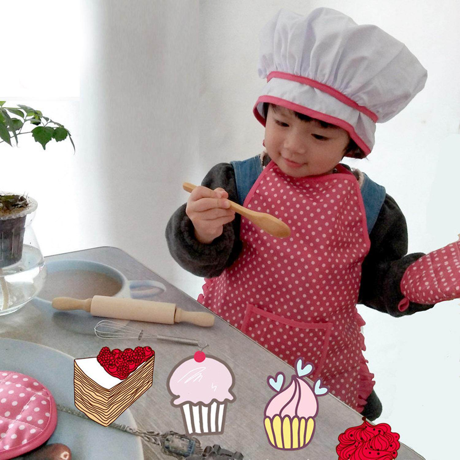 11 Pcs Kids Chef Cooking Play Diy Pretend Play Set Including Chef Hat Apron Gloves Cookies Cutters Gifts For Birthday Children Day - Intl By Stoneky.