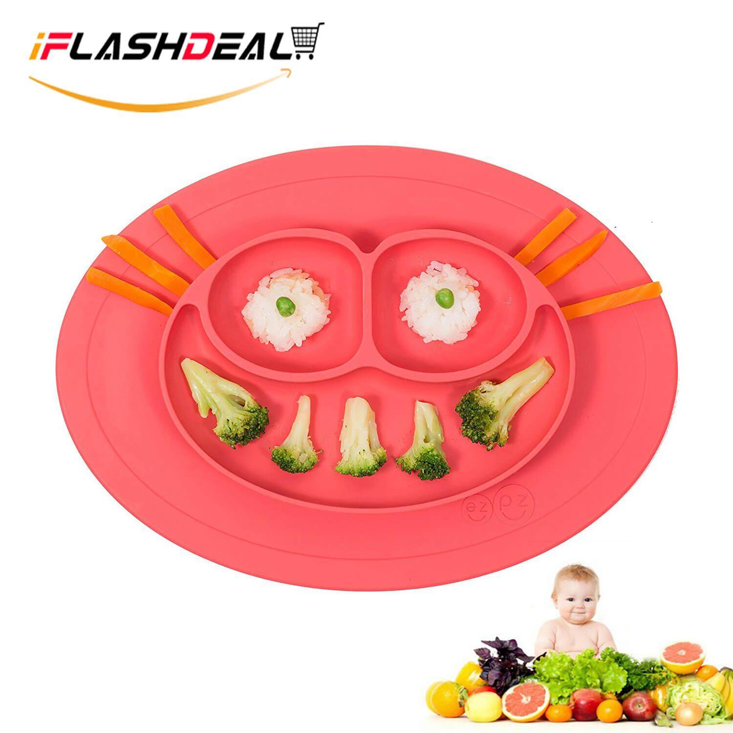 Iflashdeal Baby Silicone Plate Placemat Tray For Infants Toddlers And Kids Food Mats One Piece Happy Mat Suction Fits To Most Tables Highchair Non Slip Baby Feeding Fda Approved By Iflashdeal.
