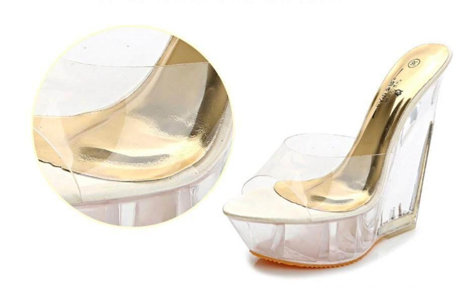 6fab116c51 Detail Gambar Musim Panas Korea Jenis Fashion Wanita Wanita Platform 15 Cm  Wedges Hak Tinggi Kristal Sandal Sepatu Terbaru