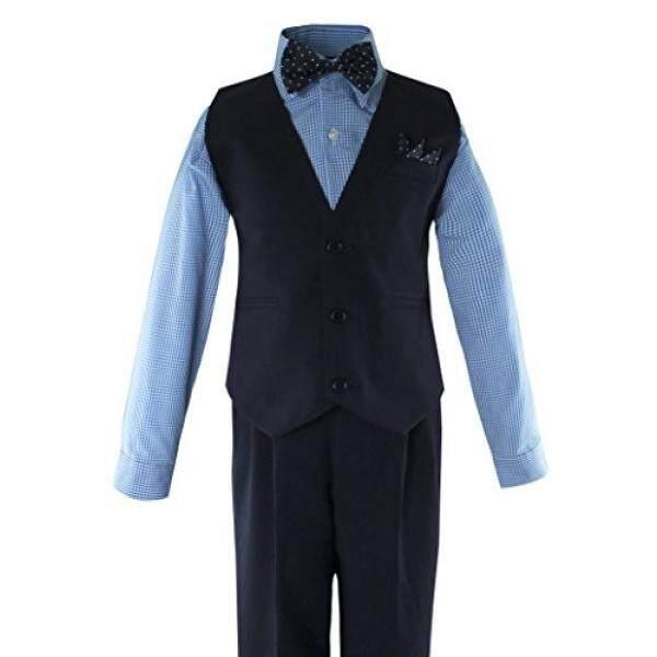 Luca Gabriel Balita Anak Laki-laki 5 Rompi Potongan Kemeja Busur Celana Ketat dan Hanky Set-Biru/Navy-10-Intl