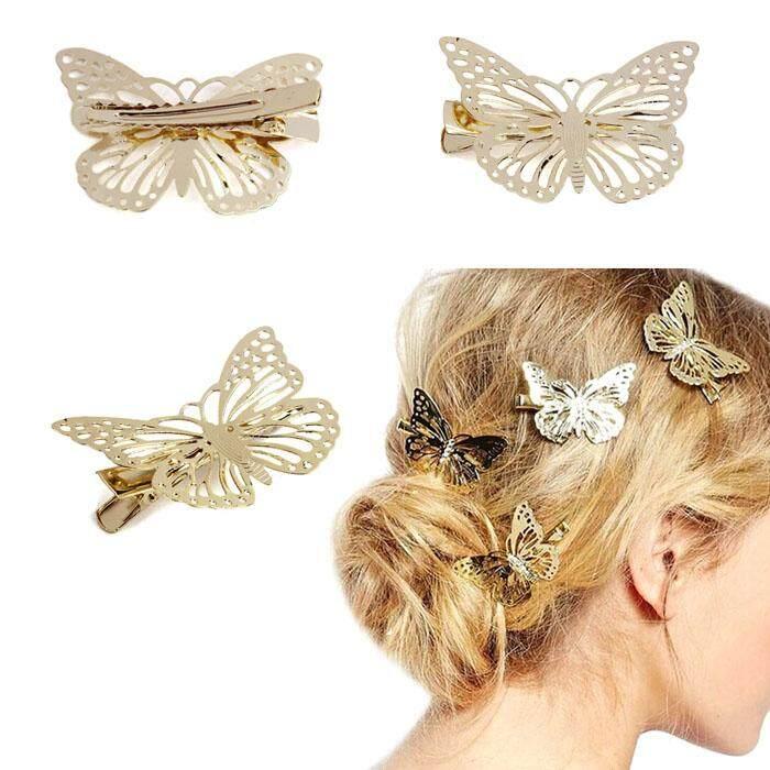 Emas Mengkilap Kupu-kupu Rambut Ikat Kepala Klip Asesoris Rambut Hiasan Kepala-Intl
