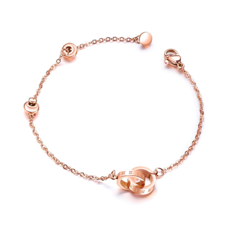 Wanita Cincin Memesona-Gelang Salib Mawar Emas Baja Anti Karat Perhiasan 14 + 5.5 Cm