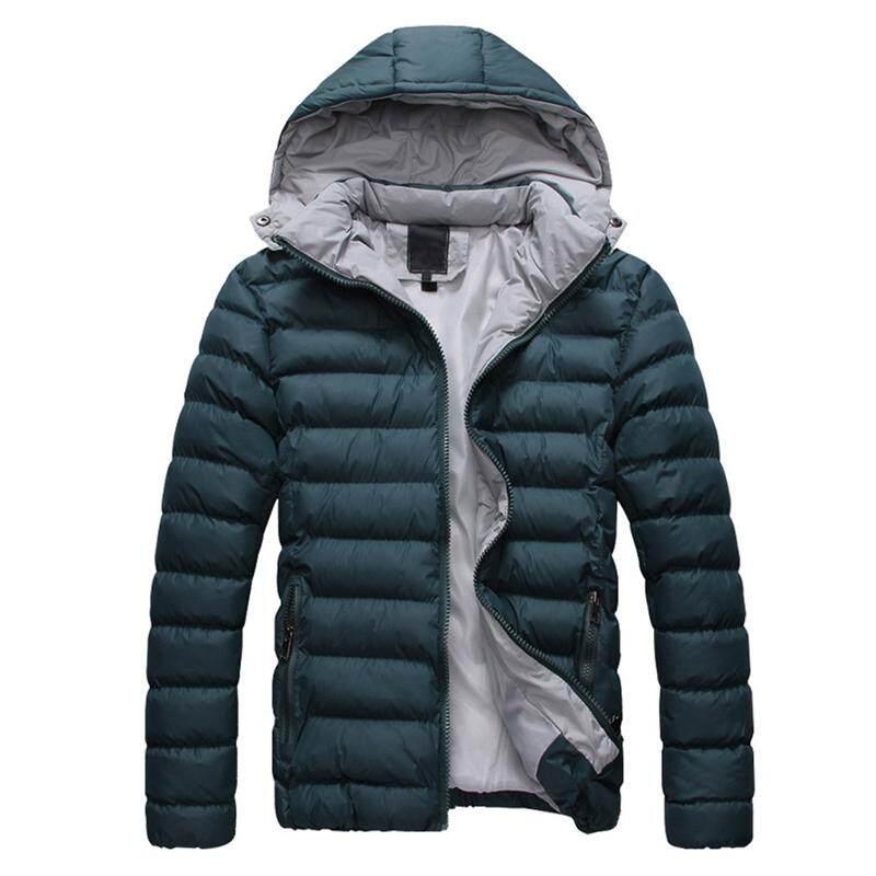 Pria Tudung Hangat Mantel Berponco Jaket Pakaian Luar Jas Musim Dingin Jaket Bulu Angsa-Hijau M-Intl