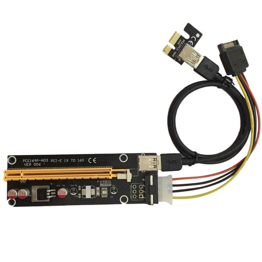 Lwentian PCI-E PCI Express 1X to 16X Riser Card USB 3.0 Cable SATA to 4Pin IDE Power Cord Molex Power for BTC Miner Machine - intl