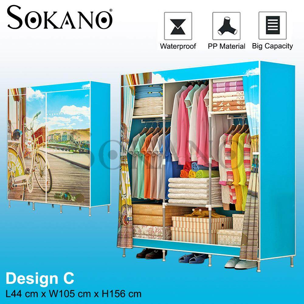 SOKANO 1381 XL Size Cartoon Themed Wardrobe Almari Pakaian with Spacious Storage And Strong Steel Structure