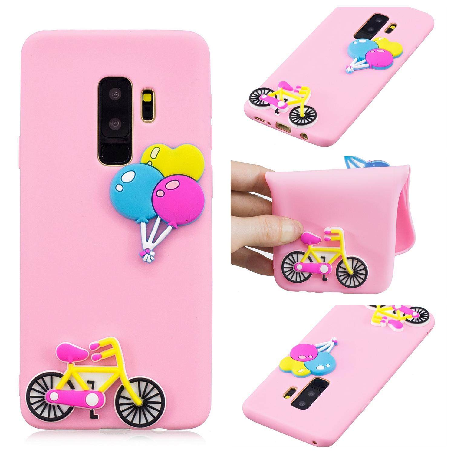 For Samsung S9 Plus Lovely Cartoon Candy Color Soft Silica Gel Full Protection Phone Case