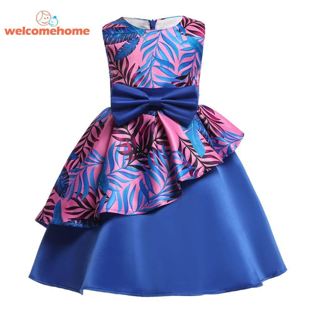 bc3d49f81e85a Fashion Girls Dress Kid Pageant Party O Neck Princess Formal Ball Gown  Prom(Blue)-8 - intl