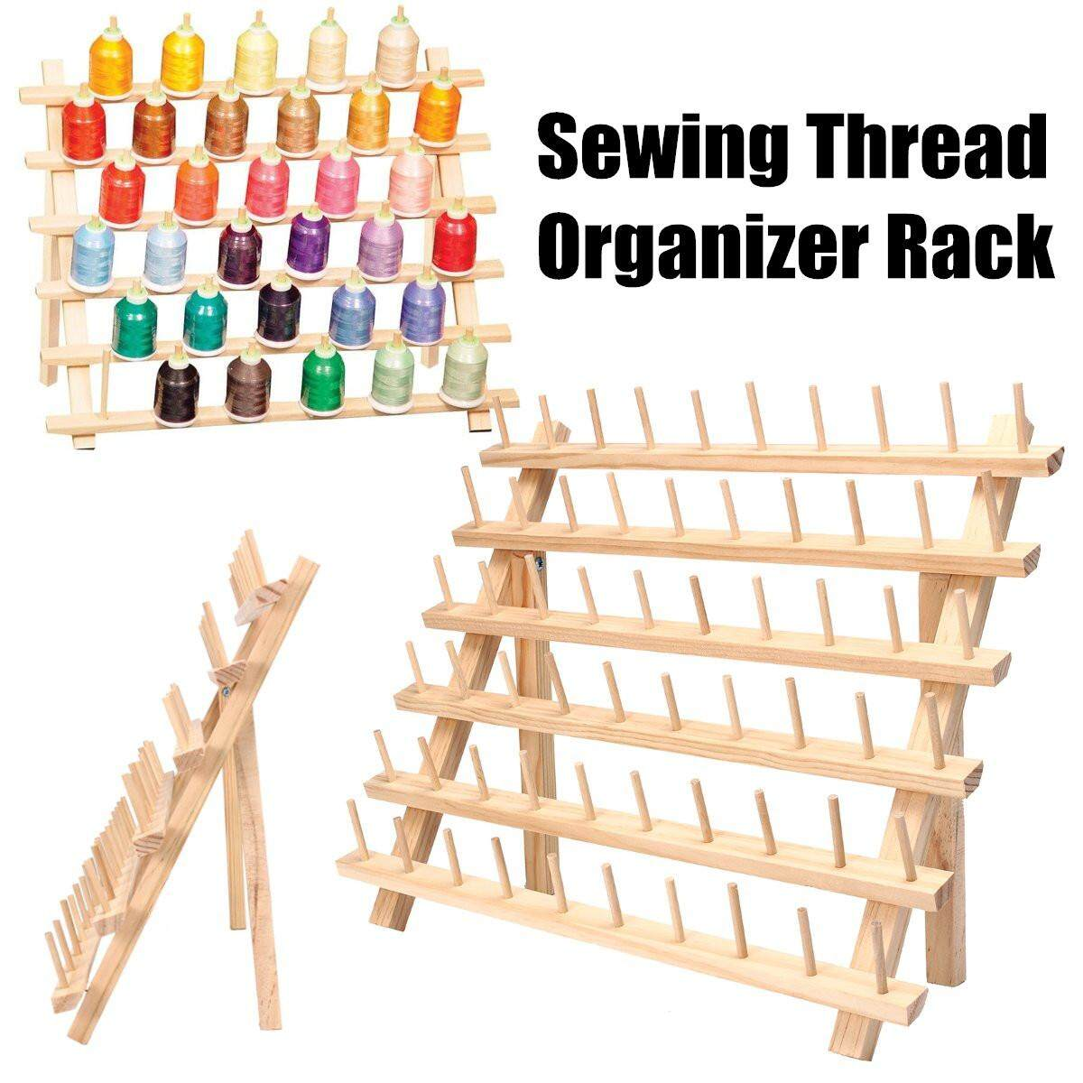Wooden Embroidery Spool Sewing Thread Rack Storage Organizer Holder Cones Stand By Moonbeam.
