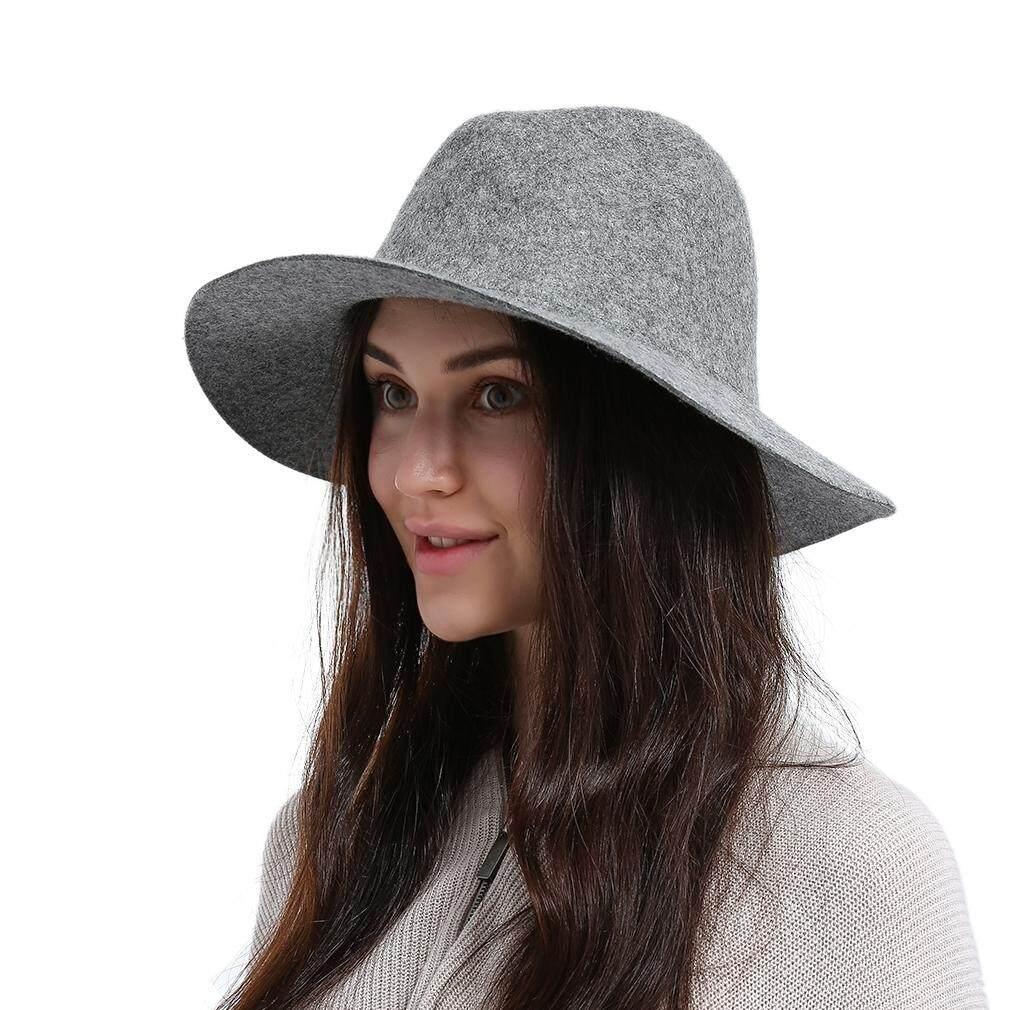 4c705e33f7e45 GEMVIE 100% Wool Fedoras Hats For Women Men Solid Color Wide Brim Vintage  Jazz Caps