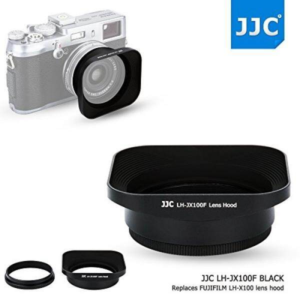 JJC Black Metal Square Reversible Lens Hood & 49mm Filter Thread Adapter Ring Kit for Fujifilm X100F X70 X100T X100S X100 Digital Camera replaces Fujifilm LH-X100