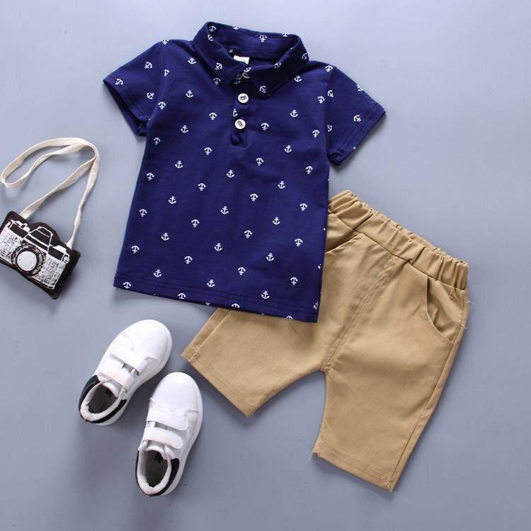 2Pcs/Set Tshirt+shorts Boy Polo Shirt Boy Suit For Children Clothing Set Kids Cute Toddler Outfits - intl