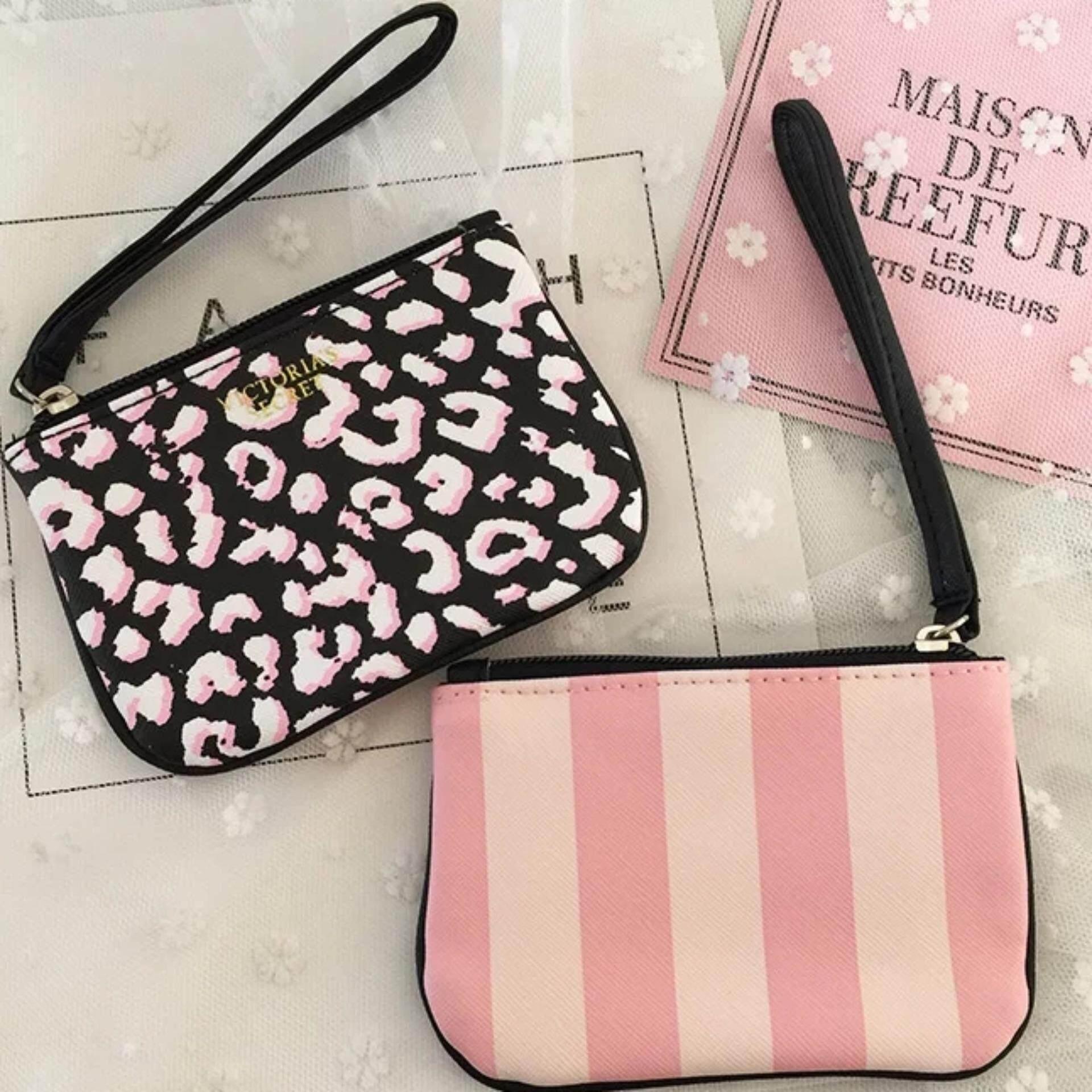 Victorias Secret Leopard+Pink Stripe Mini Coin Purse / Card Holder