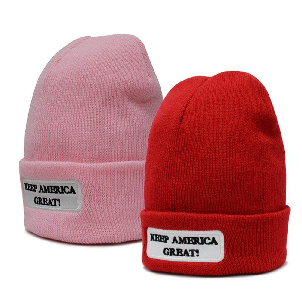 37e29b04b1a291 Hossen Woolen Knitted Cap Keep America Great Beanie Hat Cap for Trump  Supporters