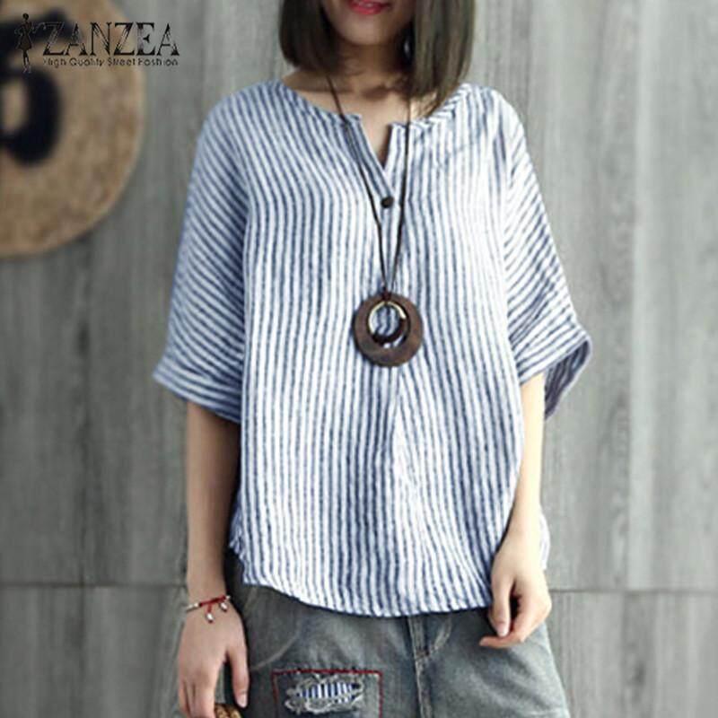 3cafc184 ZANZEA Women Stripe Batwing Shirt Tops V Neck Casual Oversize T-Shirt Blouse