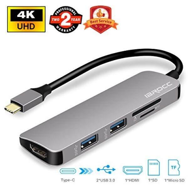 Hub USB Ibrocc Usb C Adaptor Usb C HUB dengan Output HDMI, SD dan Micro SD Pembaca Kartu, 2 Port USB 3.0, untuk MacBook Pro 2017/2016, Google Chromebook Pixel, samsung S8/S8 Plus-Abu-abu-Intl