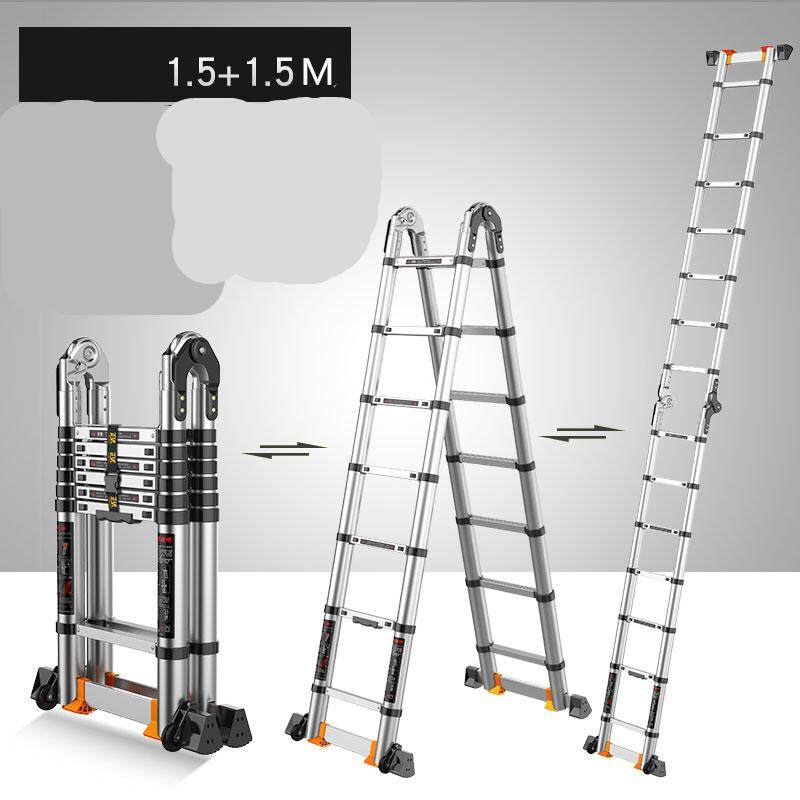 Aluminum Telescoping Telescopic Extension Ladder Aluminum Telescoping Extension Ladder Portable Multi-Purpose Folding A-Frame Ladder with Hinges, Load Capacity for Home Loft Office