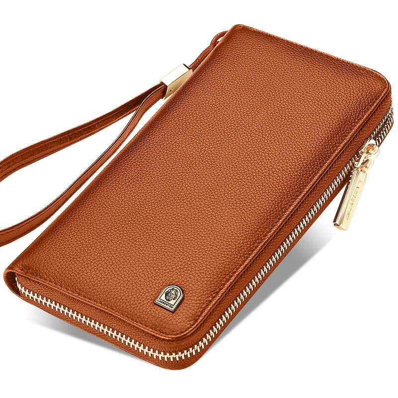 LAORENTOU Men Wallet Genuine Leather Large Capacity Long Zipper Clutch Wallet - intl