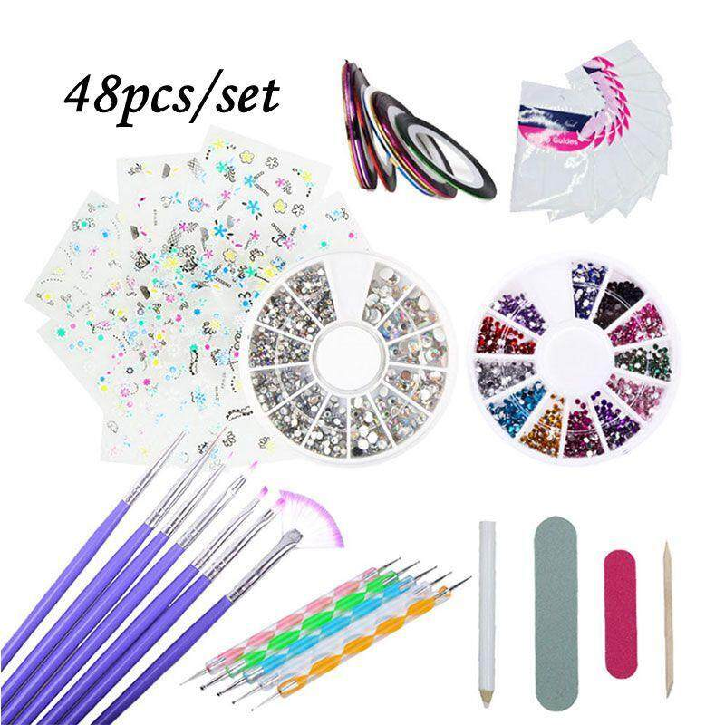 Umiwe 48 Acrylic Brush Nail Art Tips Set Kit,Combo Set Professional DIY UV Gel Nail Art Kit Brush Buffer Tool Nail Tips Glue Acrylic Set.Nails Sponges for Color Fade Manicure. - intl Philippines