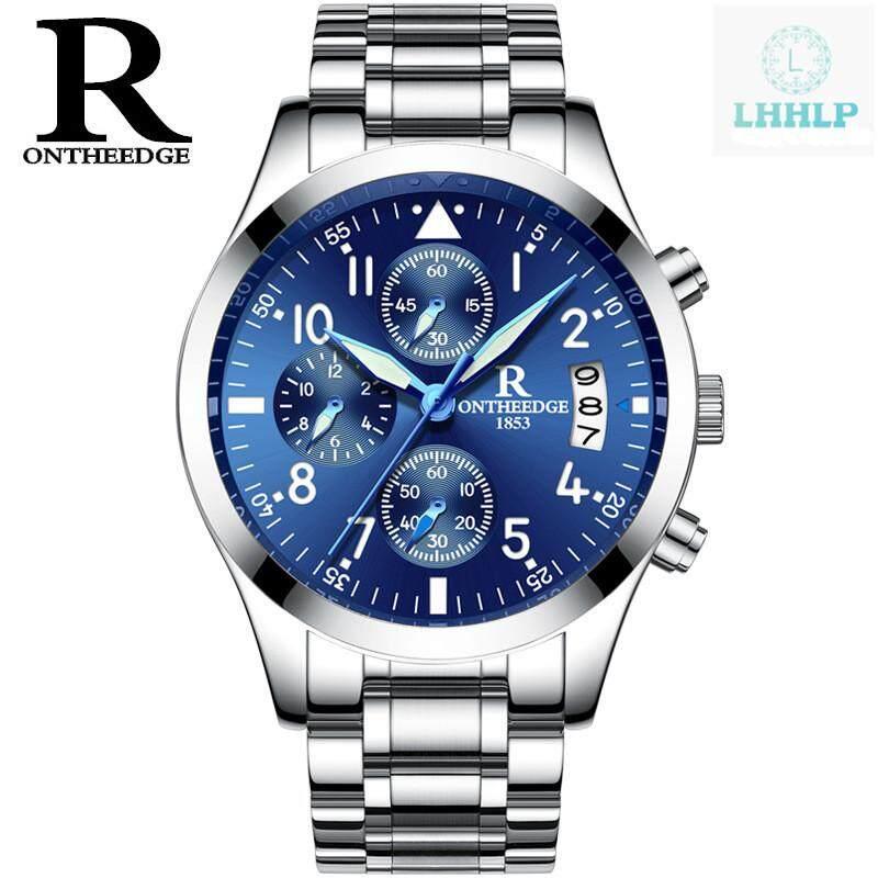Ontheedge RZY028 Pria Tahan Air Chronograph Tali Baja Tahan Karat Jam Tangan Bisnis QUARTZ Jam Tangan untuk Pria Empat Warna Tersedia