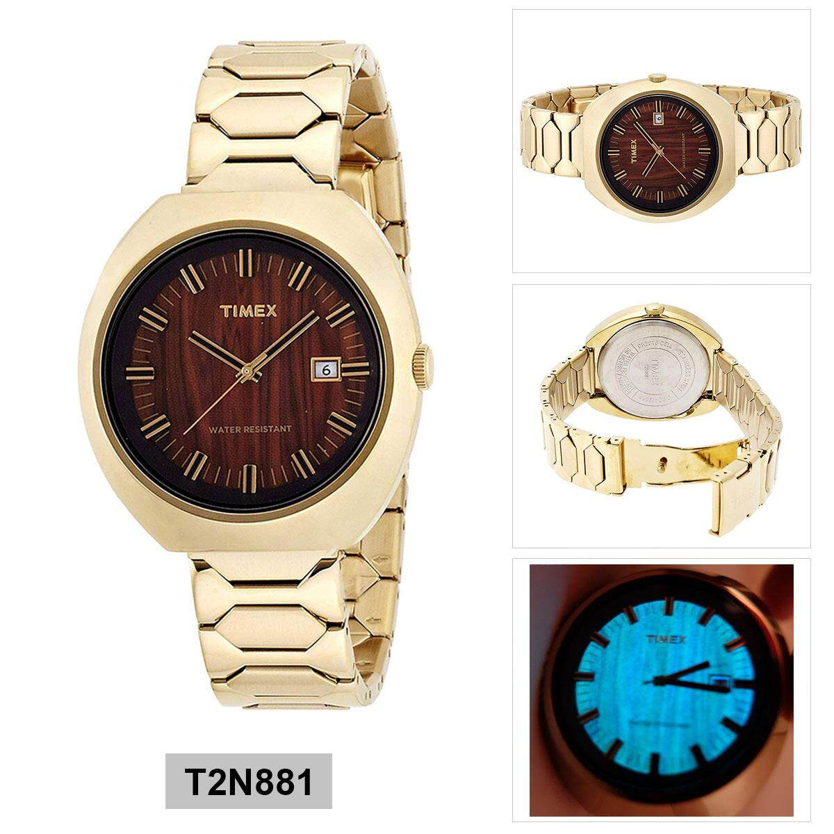 4294bbad2e31 Timex Indiglo Gold Stainless-Steel Case Stainless-Steel Bracelet Unisex  T2N881